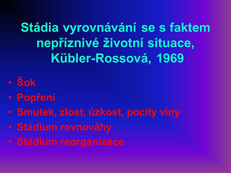 Stádia vyrovnávání se s faktem nepříznivé životní situace, Kübler-Rossová, 1969 Šok Popření Smutek, zlost, úzkost, pocity viny Stádium rovnováhy Stádium reorganizace