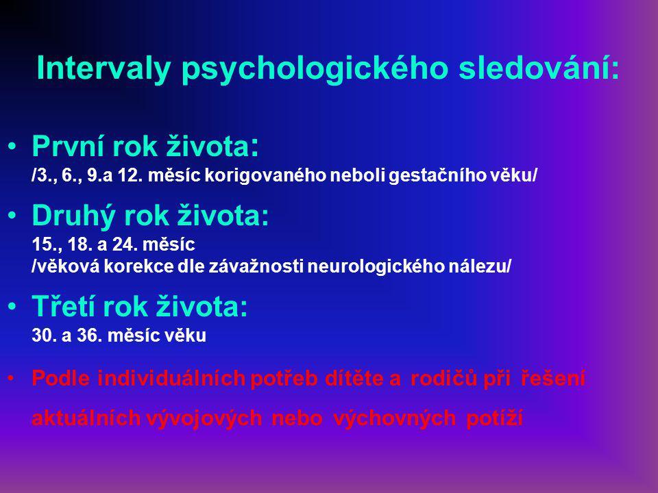Intervaly psychologického sledování: První rok života : /3., 6., 9.a 12.