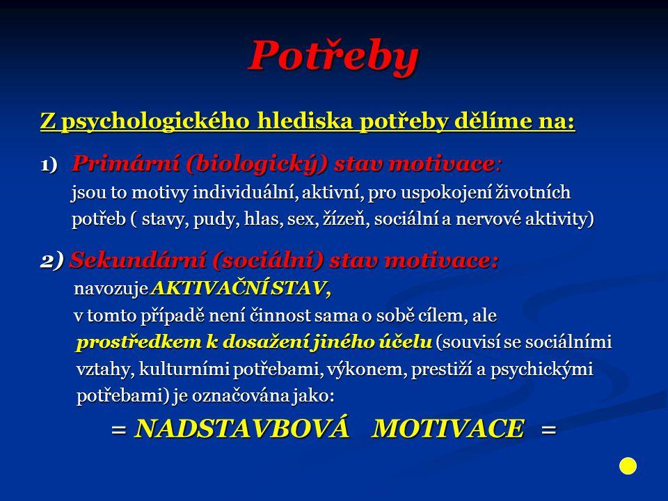 Potřeby Z psychologického hlediska potřeby dělíme na: 1) Primární (biologický) stav motivace: jsou to motivy individuální, aktivní, pro uspokojení živ