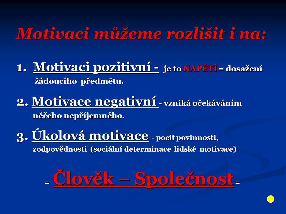 Motivaci můžeme rozlišit i na: 1. Motivaci pozitivní - je to NAPĚTÍ = dosažení žádoucího předmětu. žádoucího předmětu. 2. Motivace negativní - vzniká