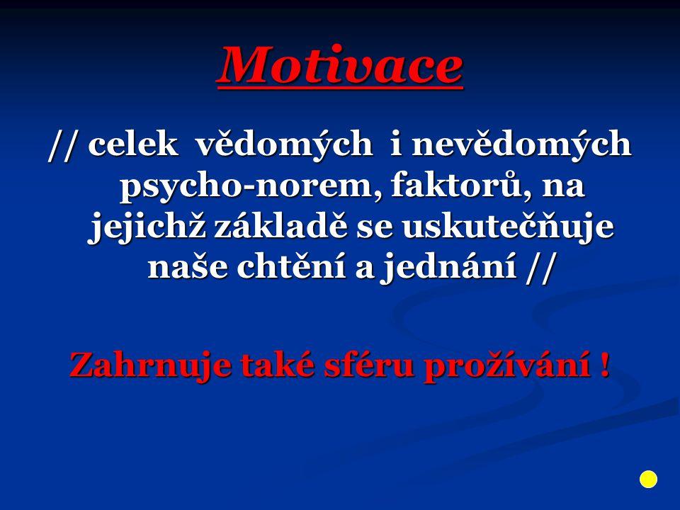 Motivace // celek vědomých i nevědomých psycho-norem, faktorů, na jejichž základě se uskutečňuje naše chtění a jednání // Zahrnuje také sféru prožíván