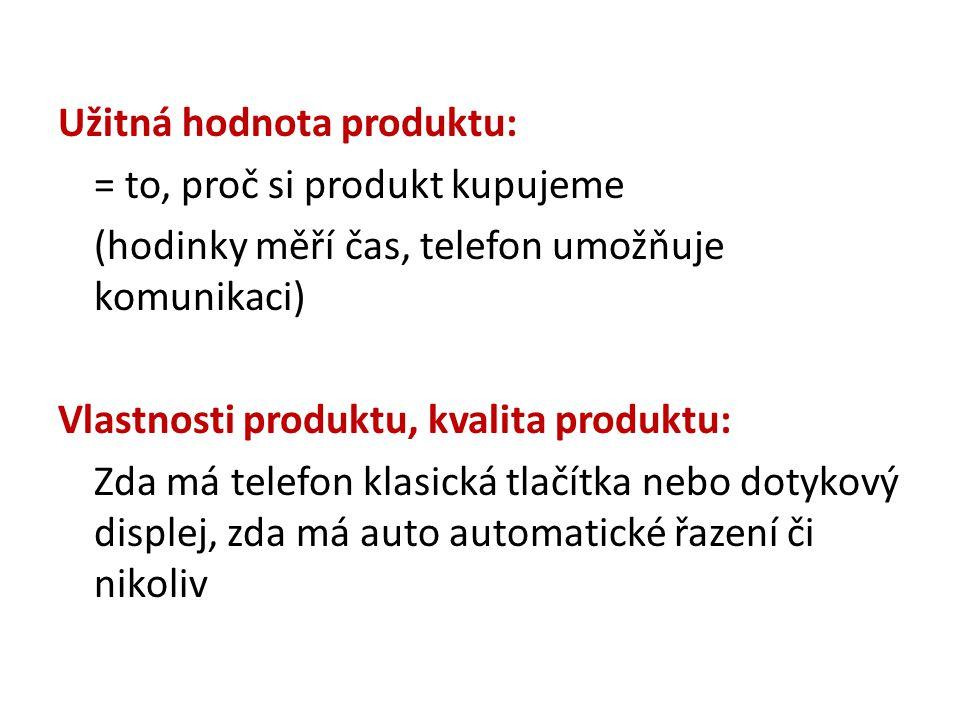 Užitná hodnota produktu: = to, proč si produkt kupujeme (hodinky měří čas, telefon umožňuje komunikaci) Vlastnosti produktu, kvalita produktu: Zda má telefon klasická tlačítka nebo dotykový displej, zda má auto automatické řazení či nikoliv