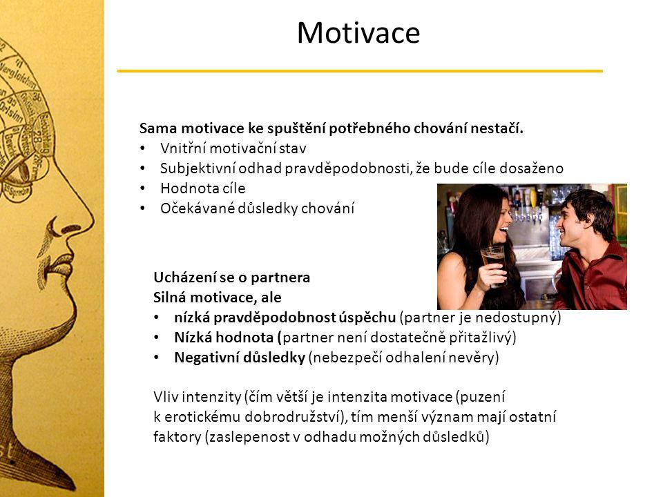 Motivace Sama motivace ke spuštění potřebného chování nestačí. Vnitřní motivační stav Subjektivní odhad pravděpodobnosti, že bude cíle dosaženo Hodnot
