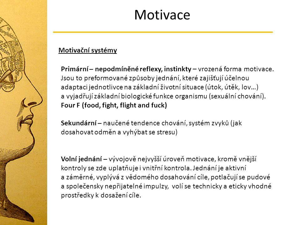Motivace Motivační systémy Primární – nepodmíněné reflexy, instinkty – vrozená forma motivace. Jsou to preformované způsoby jednání, které zajišťují ú