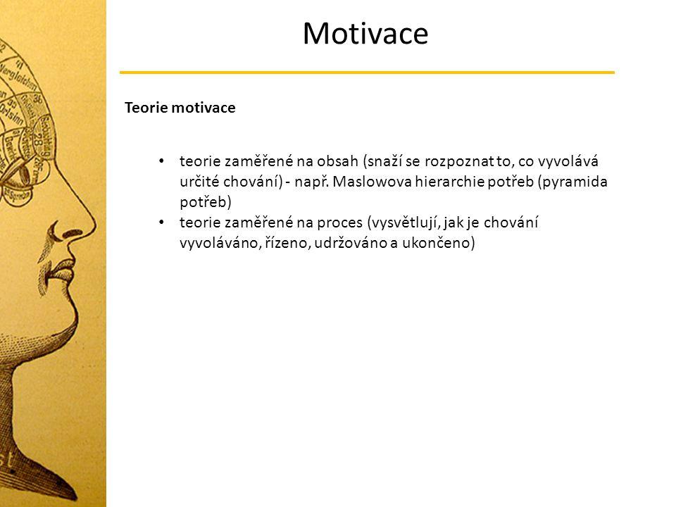 Motivace teorie zaměřené na obsah (snaží se rozpoznat to, co vyvolává určité chování) - např. Maslowova hierarchie potřeb (pyramida potřeb) teorie zam