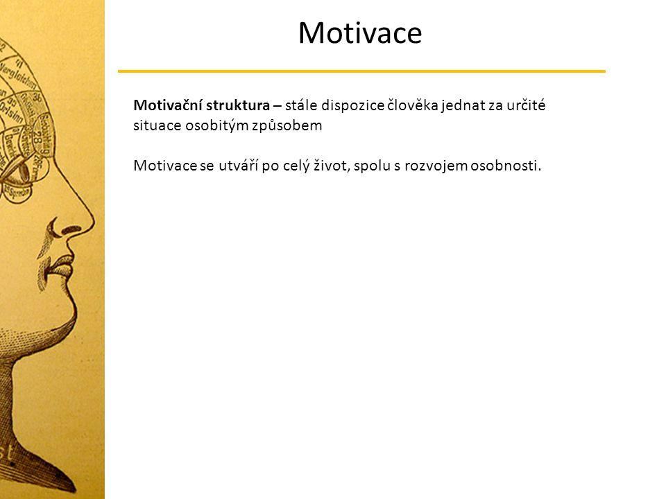 Motivace Potřeba Výchozí motivační stav a tedy základní činitel rozvoje procesu motivace.