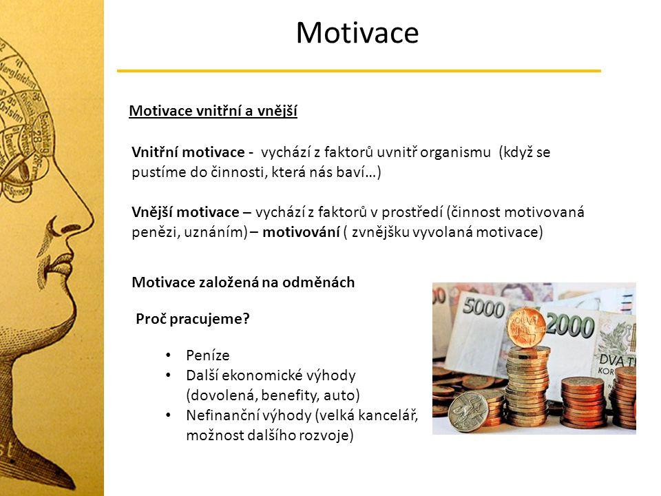 Motivace Motivace vnitřní a vnější Vnitřní motivace - vychází z faktorů uvnitř organismu (když se pustíme do činnosti, která nás baví…) Vnější motivac