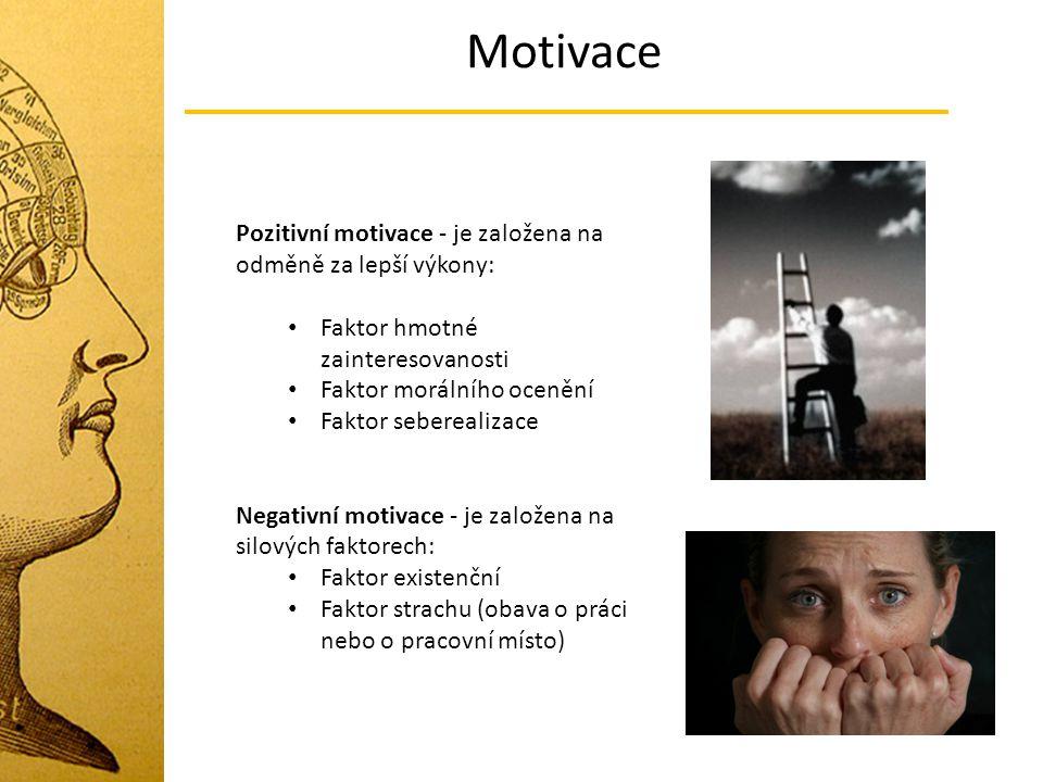 Motivace Pozitivní motivace - je založena na odměně za lepší výkony: Faktor hmotné zainteresovanosti Faktor morálního ocenění Faktor seberealizace Neg