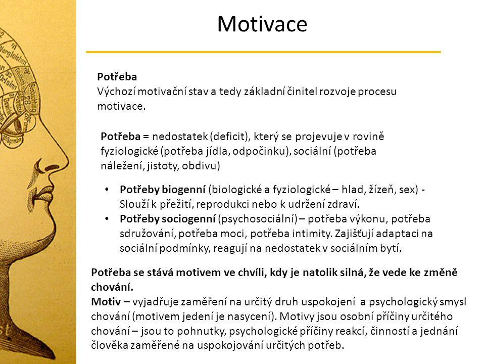 Motivace Chování - dvě hlediska Jakým způsobem chování probíhá (agresivně) Proč se daný jedinec chová tak, jak se chová (agresivně) – jaký je cíl tohoto chování Motivace – psychologický důvod chování (příčina) Projevuje se třemi znaky: Zaměření (zaměření na dosažení určitého cíle) Intenzita (míra energie, která je vložena a udržována v procesu) Trvání (do dosažení cíle, do příchodu nové silnější motivace) - voják, jídlo