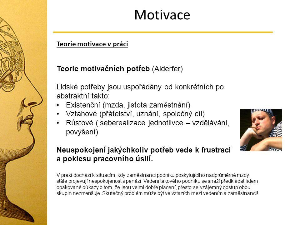 Motivace Teorie motivace v práci Teorie motivačních potřeb (Alderfer) Lidské potřeby jsou uspořádány od konkrétních po abstraktní takto: Existenční (m