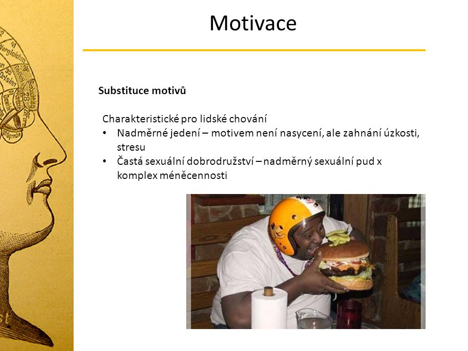 Motivace Substituce motivů Charakteristické pro lidské chování Nadměrné jedení – motivem není nasycení, ale zahnání úzkosti, stresu Častá sexuální dob