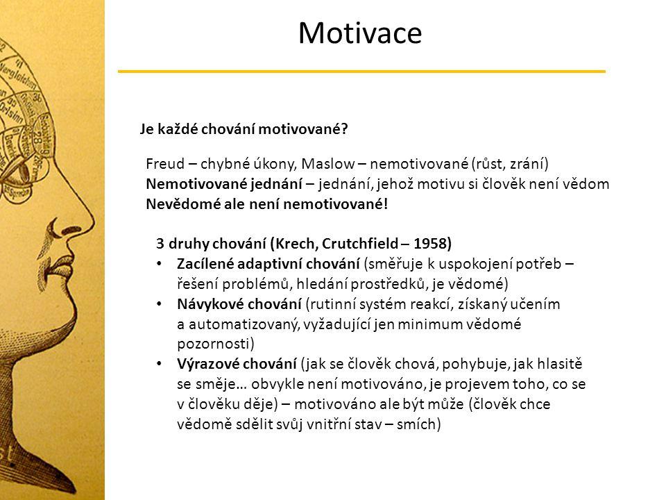 Motivace Je každé chování motivované? Freud – chybné úkony, Maslow – nemotivované (růst, zrání) Nemotivované jednání – jednání, jehož motivu si člověk