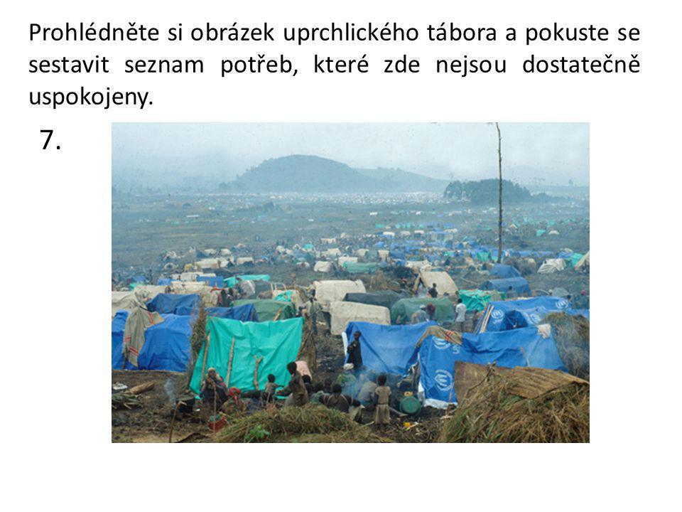 7. Prohlédněte si obrázek uprchlického tábora a pokuste se sestavit seznam potřeb, které zde nejsou dostatečně uspokojeny.