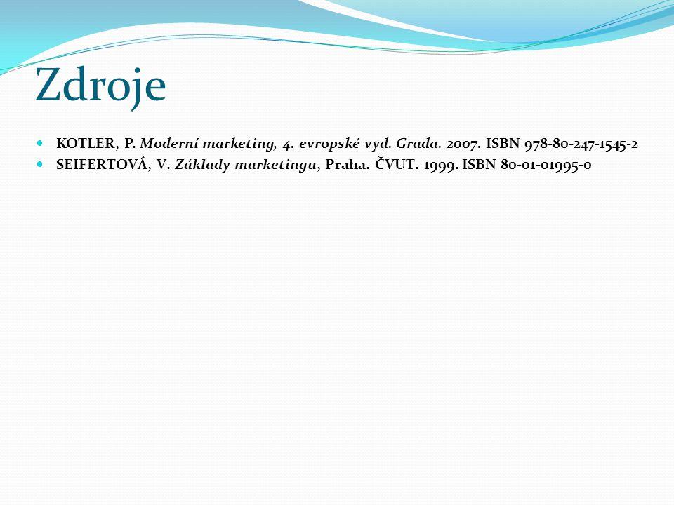 Zdroje KOTLER, P. Moderní marketing, 4. evropské vyd. Grada. 2007. ISBN 978-80-247-1545-2 SEIFERTOVÁ, V. Základy marketingu, Praha. ČVUT. 1999. ISBN 8
