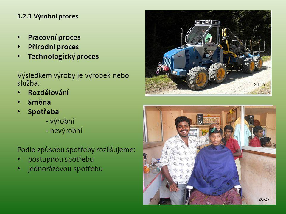 1.2.4 Základní výrobní faktory Výrobní faktor PRÁCE Lidský kapitál má 2 oblasti vývoje: vzdělávání realizace vzdělání Výrobní faktor PŮDA Zahrnuje všechny primární složky přírody (lesní a zemědělská půda, nerostné suroviny, vodstvo, zdroje energie, přírodní společenstva) Půda je nereprodukovatelná Výrobní faktor KAPITÁL Věcnými nositeli jsou kapitálové statky 28 29 30 31