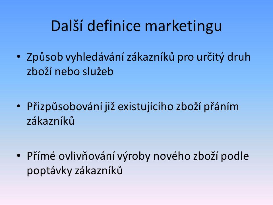Další definice marketingu Způsob vyhledávání zákazníků pro určitý druh zboží nebo služeb Přizpůsobování již existujícího zboží přáním zákazníků Přímé ovlivňování výroby nového zboží podle poptávky zákazníků