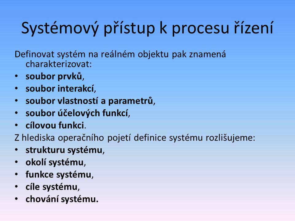 Systémový přístup k procesu řízení Definovat systém na reálném objektu pak znamená charakterizovat: soubor prvků, soubor interakcí, soubor vlastností a parametrů, soubor účelových funkcí, cílovou funkci.