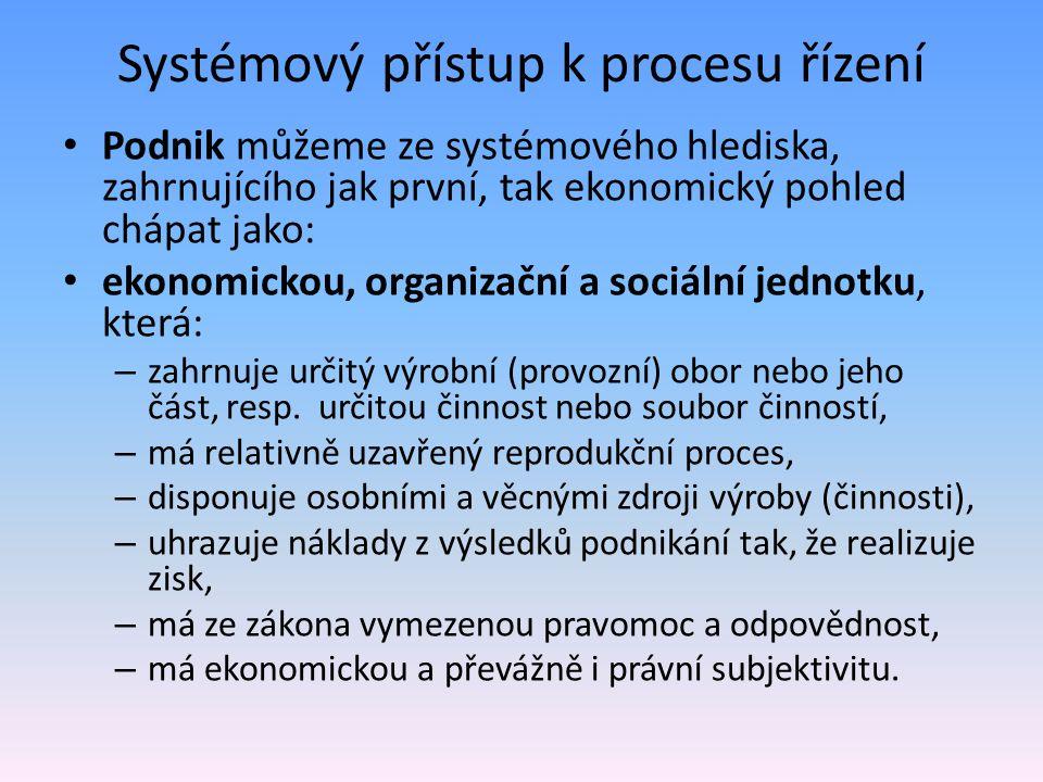 Systémový přístup k procesu řízení Podnik můžeme ze systémového hlediska, zahrnujícího jak první, tak ekonomický pohled chápat jako: ekonomickou, organizační a sociální jednotku, která: – zahrnuje určitý výrobní (provozní) obor nebo jeho část, resp.