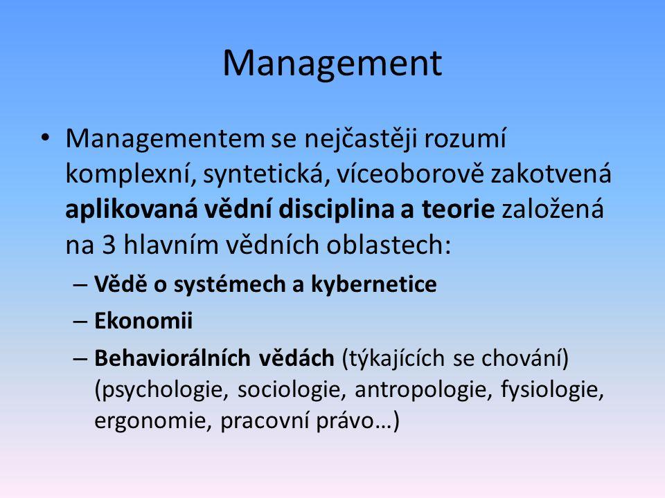 Management Managementem se nejčastěji rozumí komplexní, syntetická, víceoborově zakotvená aplikovaná vědní disciplina a teorie založená na 3 hlavním vědních oblastech: – Vědě o systémech a kybernetice – Ekonomii – Behaviorálních vědách (týkajících se chování) (psychologie, sociologie, antropologie, fysiologie, ergonomie, pracovní právo…)