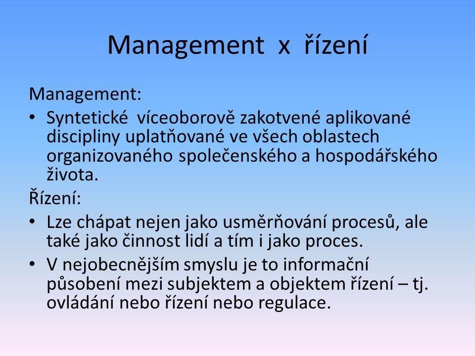 Management x řízení Management: Syntetické víceoborově zakotvené aplikované discipliny uplatňované ve všech oblastech organizovaného společenského a hospodářského života.