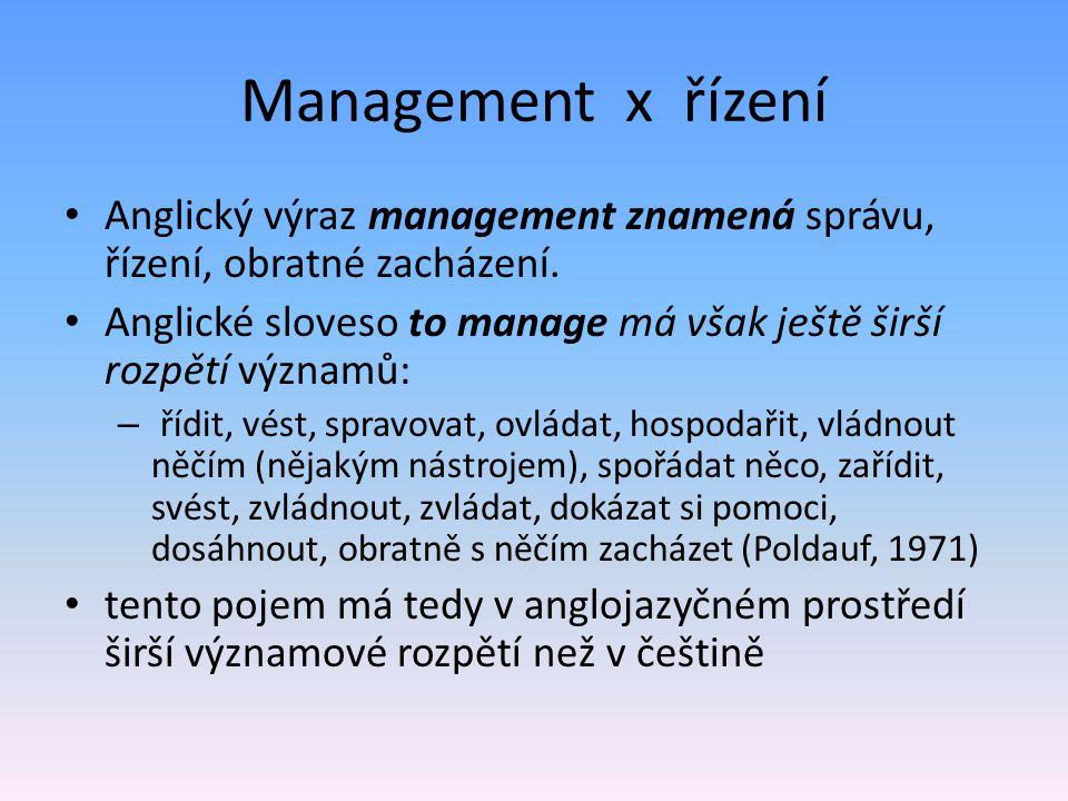 Management x řízení Anglický výraz management znamená správu, řízení, obratné zacházení. Anglické sloveso to manage má však ještě širší rozpětí význam