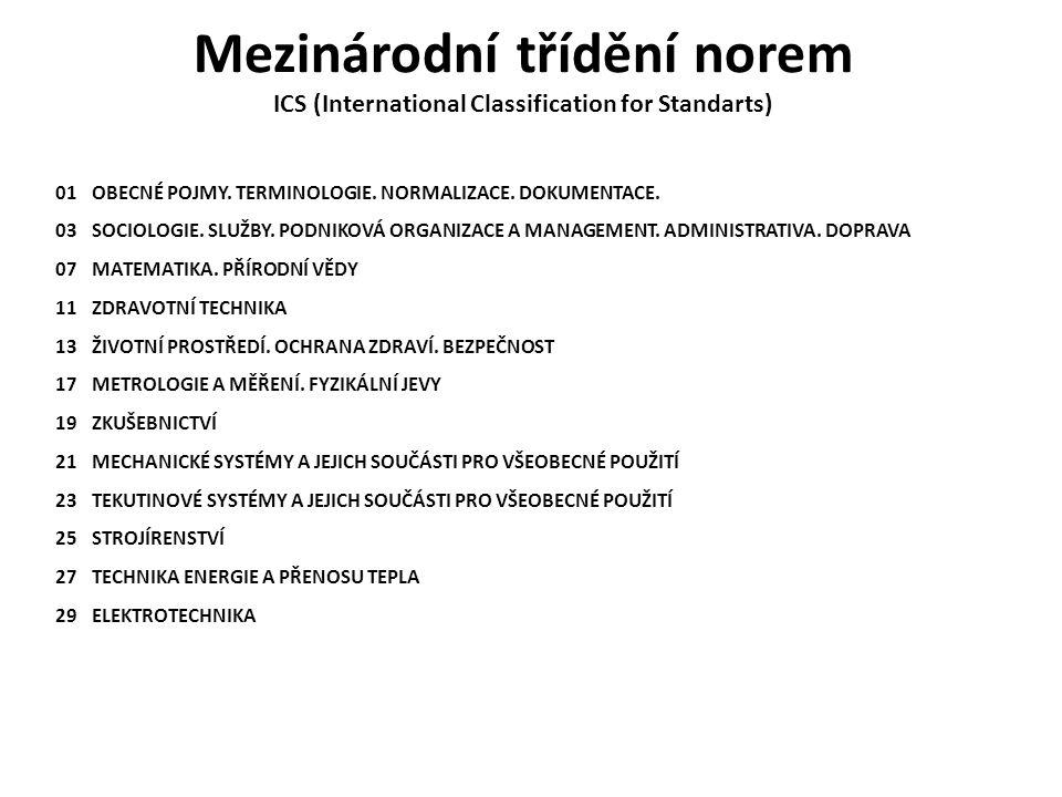 Mezinárodní třídění norem ICS (International Classification for Standarts) 01 OBECNÉ POJMY. TERMINOLOGIE. NORMALIZACE. DOKUMENTACE. 03 SOCIOLOGIE. SLU