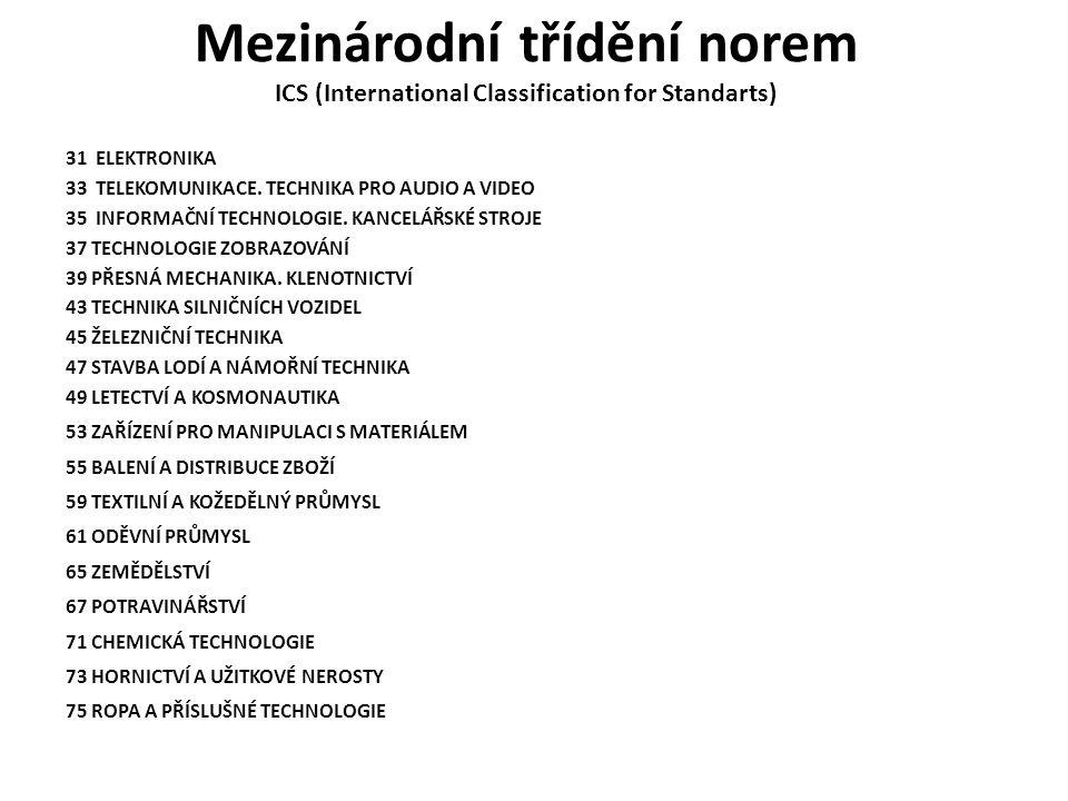 Mezinárodní třídění norem ICS (International Classification for Standarts) 31 ELEKTRONIKA 33 TELEKOMUNIKACE. TECHNIKA PRO AUDIO A VIDEO 35 INFORMAČNÍ