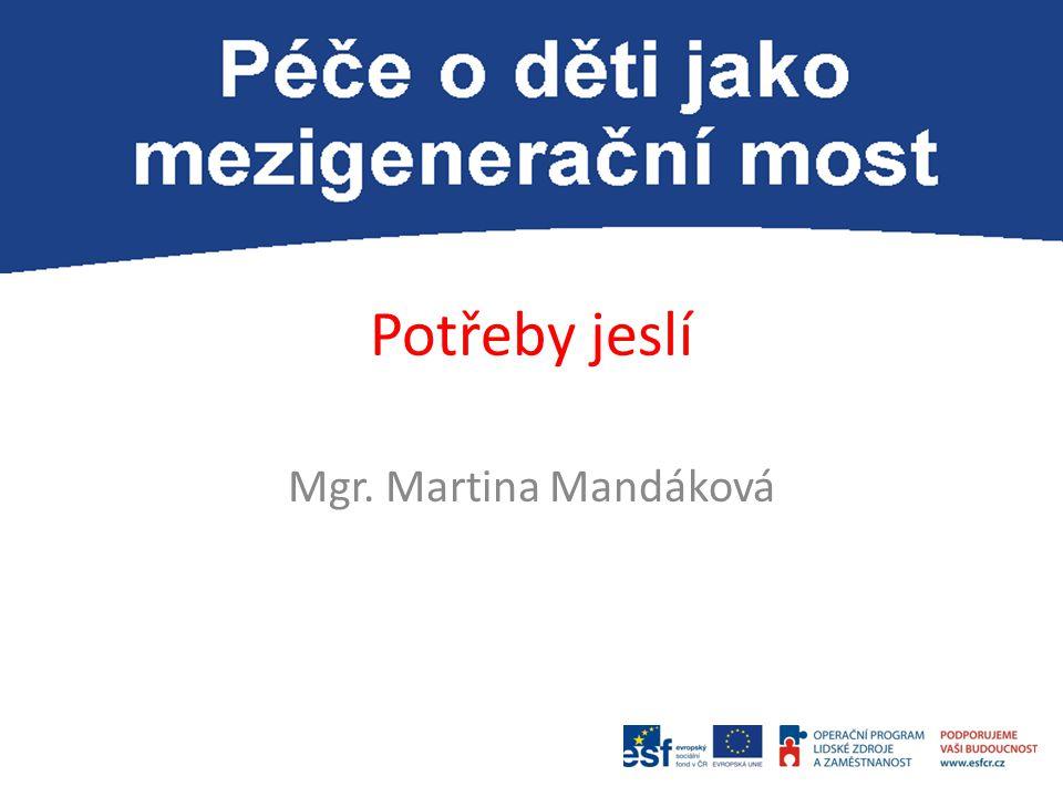 Potřeby jeslí Mgr. Martina Mandáková