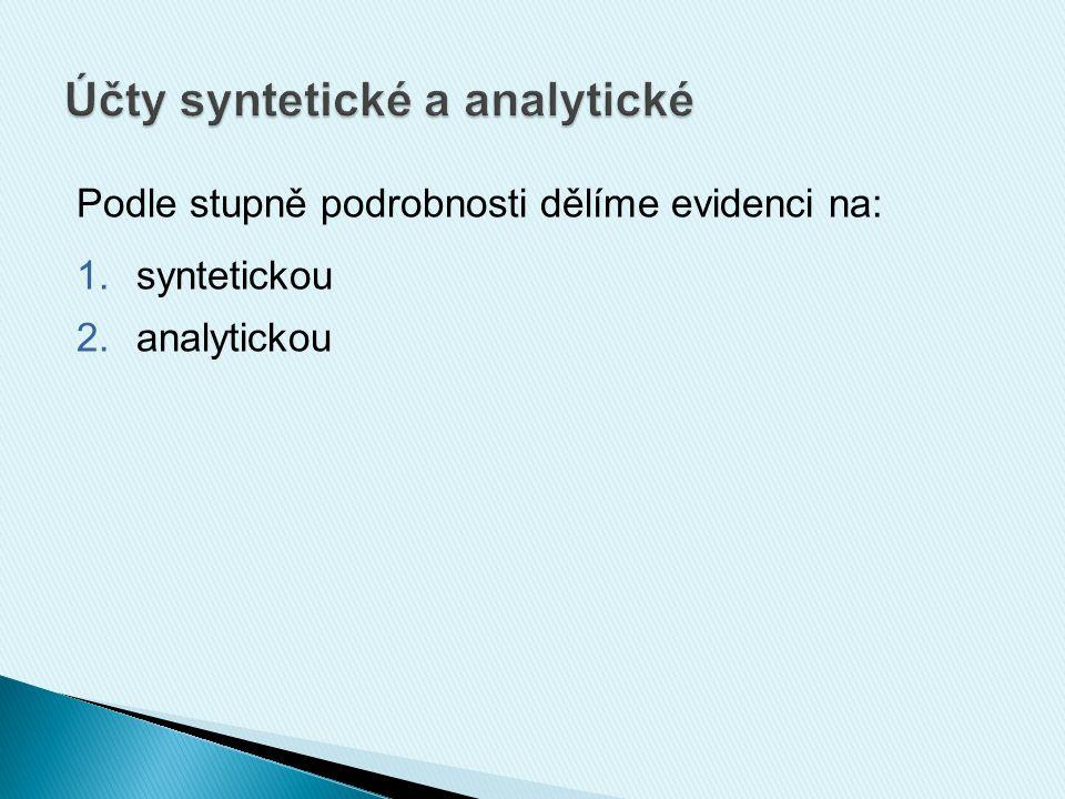  souhrnné stavy a pohyby jednotlivých druhů aktiv, pasiv, nákladů, výnosů za celou účetní jednotku  syntetické účty = syntetická evidence  např.