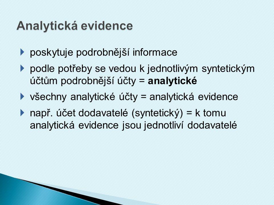  poskytuje podrobnější informace  podle potřeby se vedou k jednotlivým syntetickým účtům podrobnější účty = analytické  všechny analytické účty = analytická evidence  např.