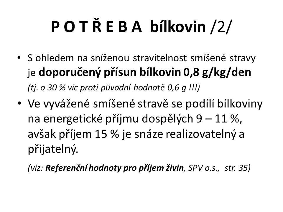 P O T Ř E B A bílkovin /2/ S ohledem na sníženou stravitelnost smíšené stravy je doporučený přísun bílkovin 0,8 g/kg/den (tj.
