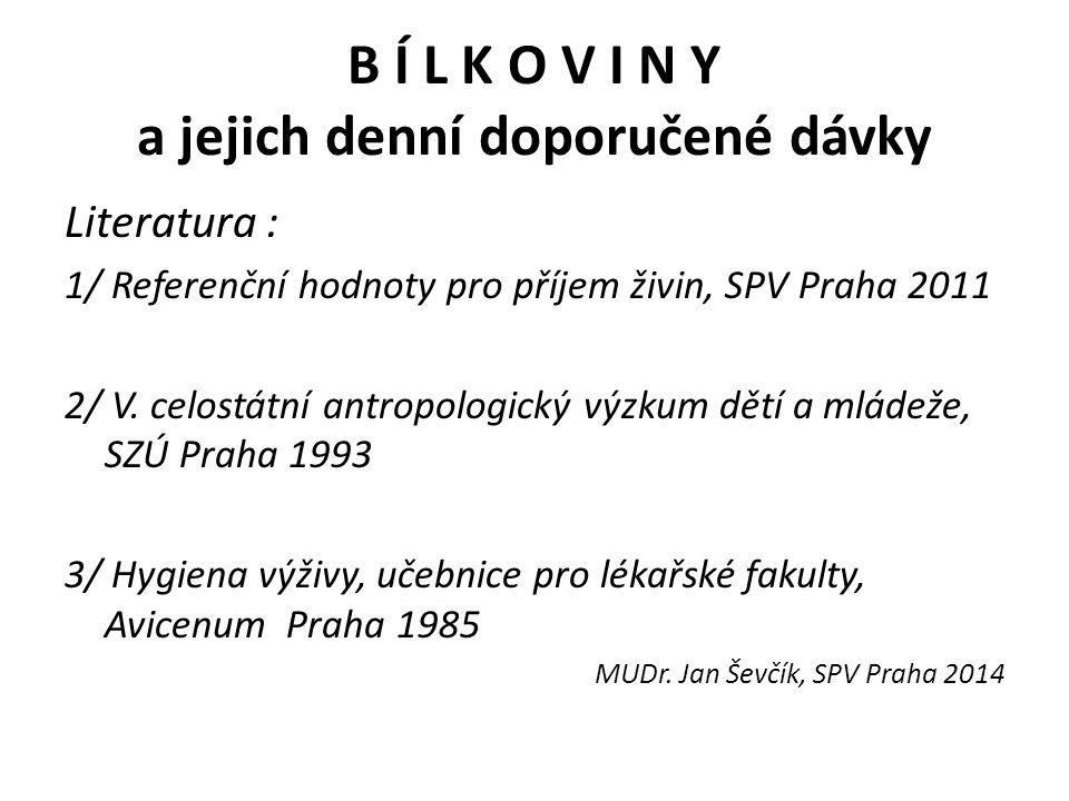 B Í L K O V I N Y a jejich denní doporučené dávky Literatura : 1/ Referenční hodnoty pro příjem živin, SPV Praha 2011 2/ V.