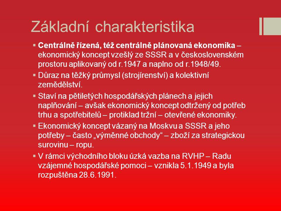 Základní charakteristika  Centrálně řízená, též centrálně plánovaná ekonomika – ekonomický koncept vzešlý ze SSSR a v československém prostoru apliko