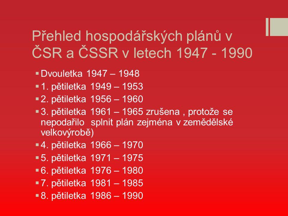 Přehled hospodářských plánů v ČSR a ČSSR v letech 1947 - 1990  Dvouletka 1947 – 1948  1. pětiletka 1949 – 1953  2. pětiletka 1956 – 1960  3. pětil