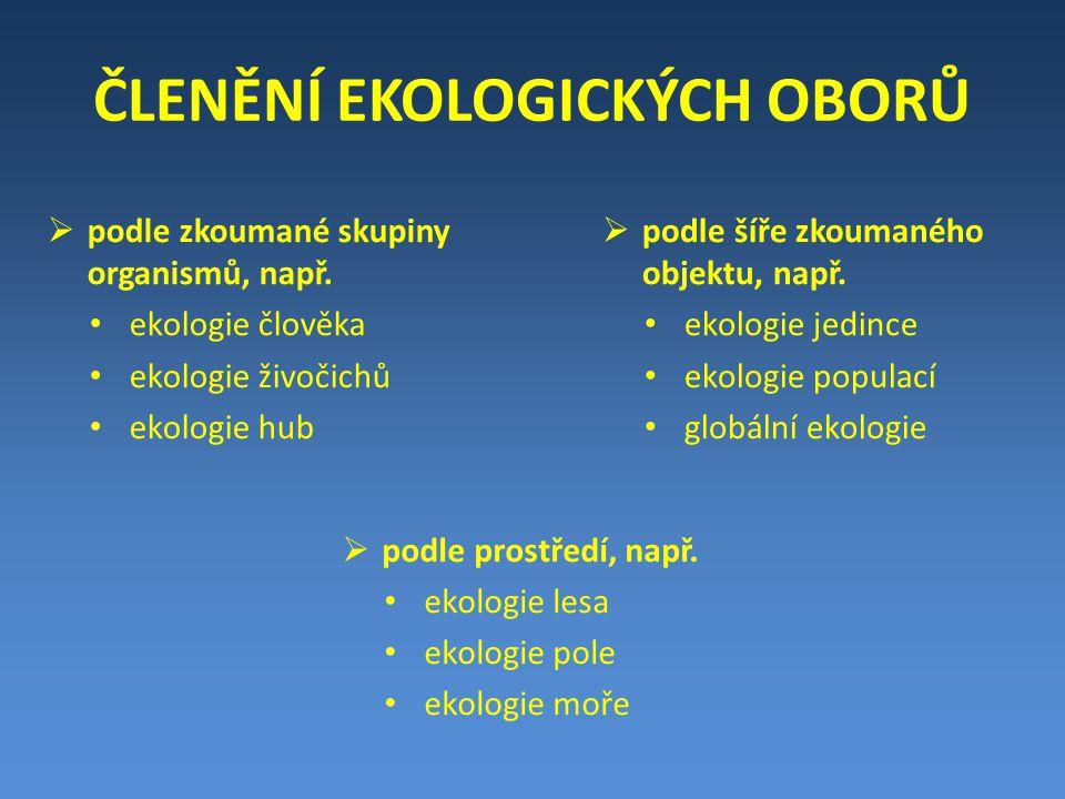 ČLENĚNÍ EKOLOGICKÝCH OBORŮ  podle zkoumané skupiny organismů, např.