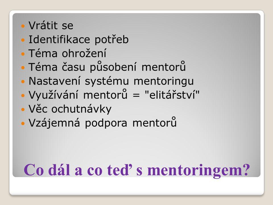 Otázky k dalšímu vývoji mentoringu na škole Potřeby.