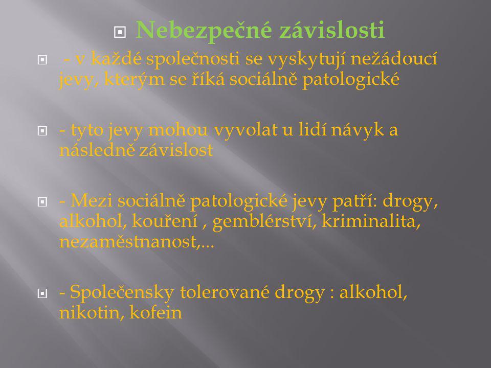 Nebezpečné závislosti  - v každé společnosti se vyskytují nežádoucí jevy, kterým se říká sociálně patologické  - tyto jevy mohou vyvolat u lidí návyk a následně závislost  - Mezi sociálně patologické jevy patří: drogy, alkohol, kouření, gemblérství, kriminalita, nezaměstnanost,...