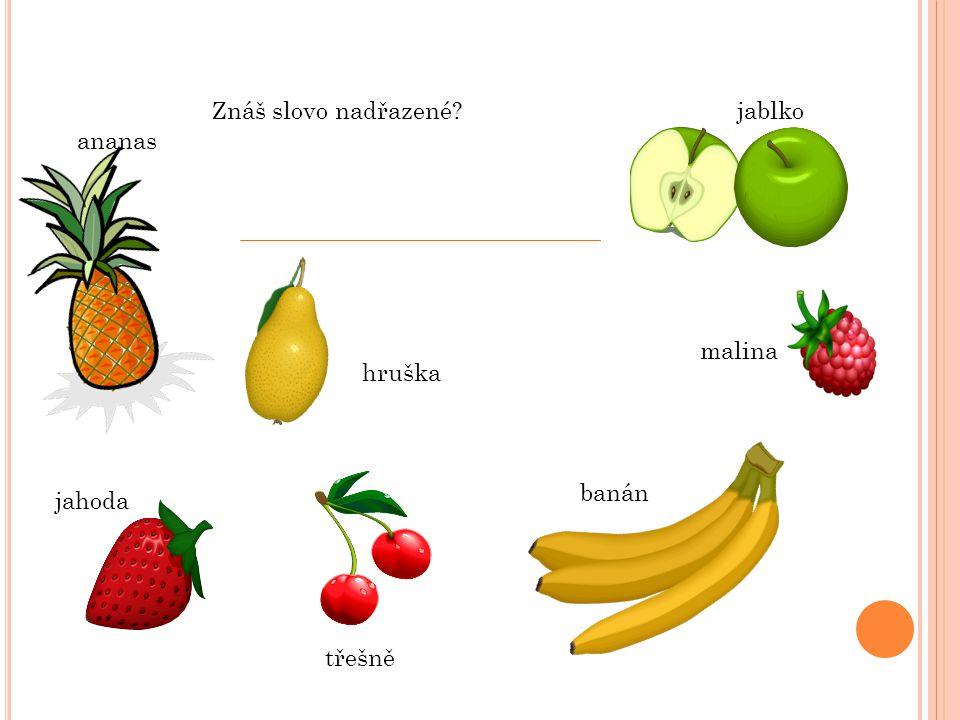 jablko malina banán hruška třešně jahoda ananas