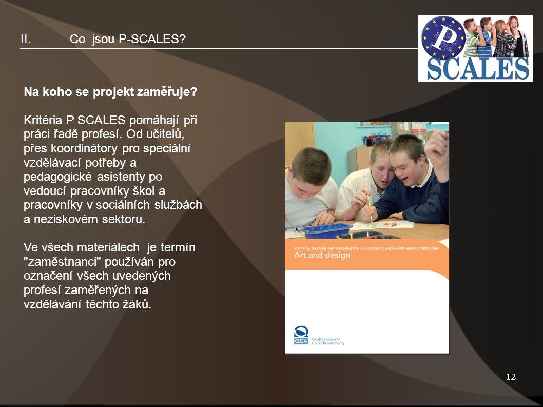 12 Na koho se projekt zaměřuje. Kritéria P SCALES pomáhají při práci řadě profesí.