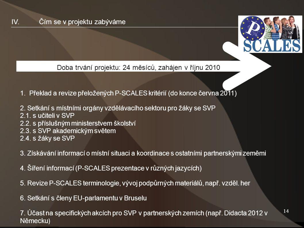 14 IV.Čím se v projektu zabýváme Doba trvání projektu: 24 měsíců, zahájen v říjnu 2010 1.