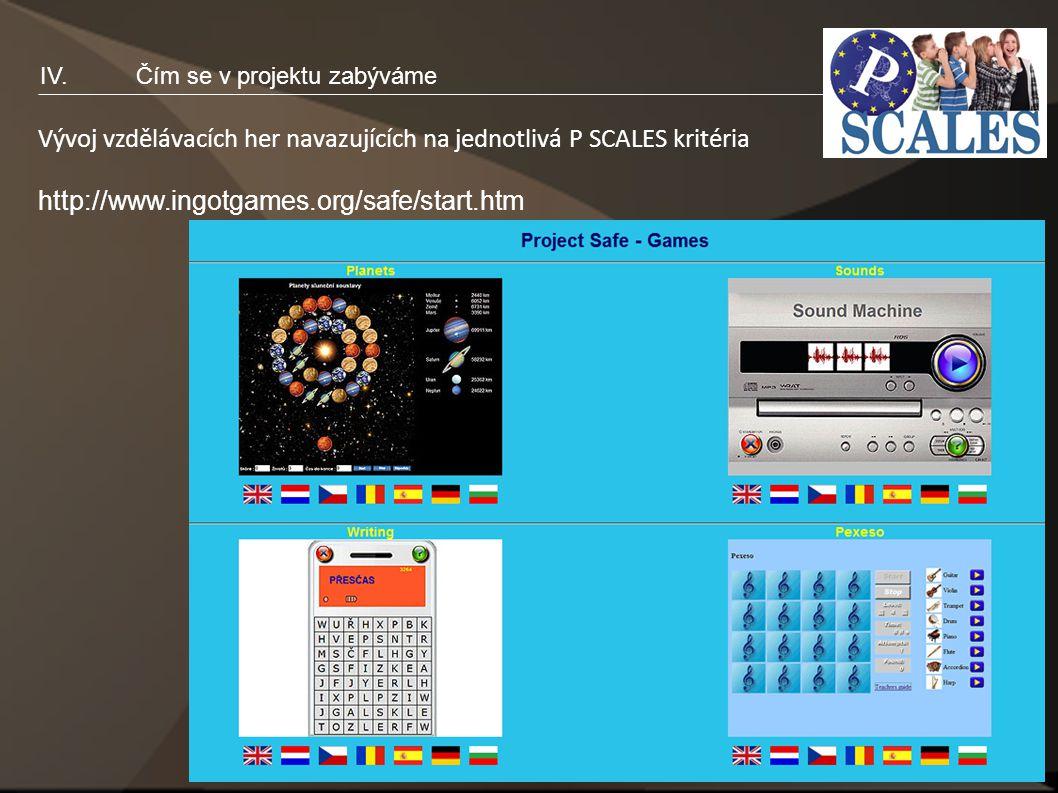 15 IV.Čím se v projektu zabýváme Vývoj vzdělávacích her navazujících na jednotlivá P SCALES kritéria http://www.ingotgames.org/safe/start.htm