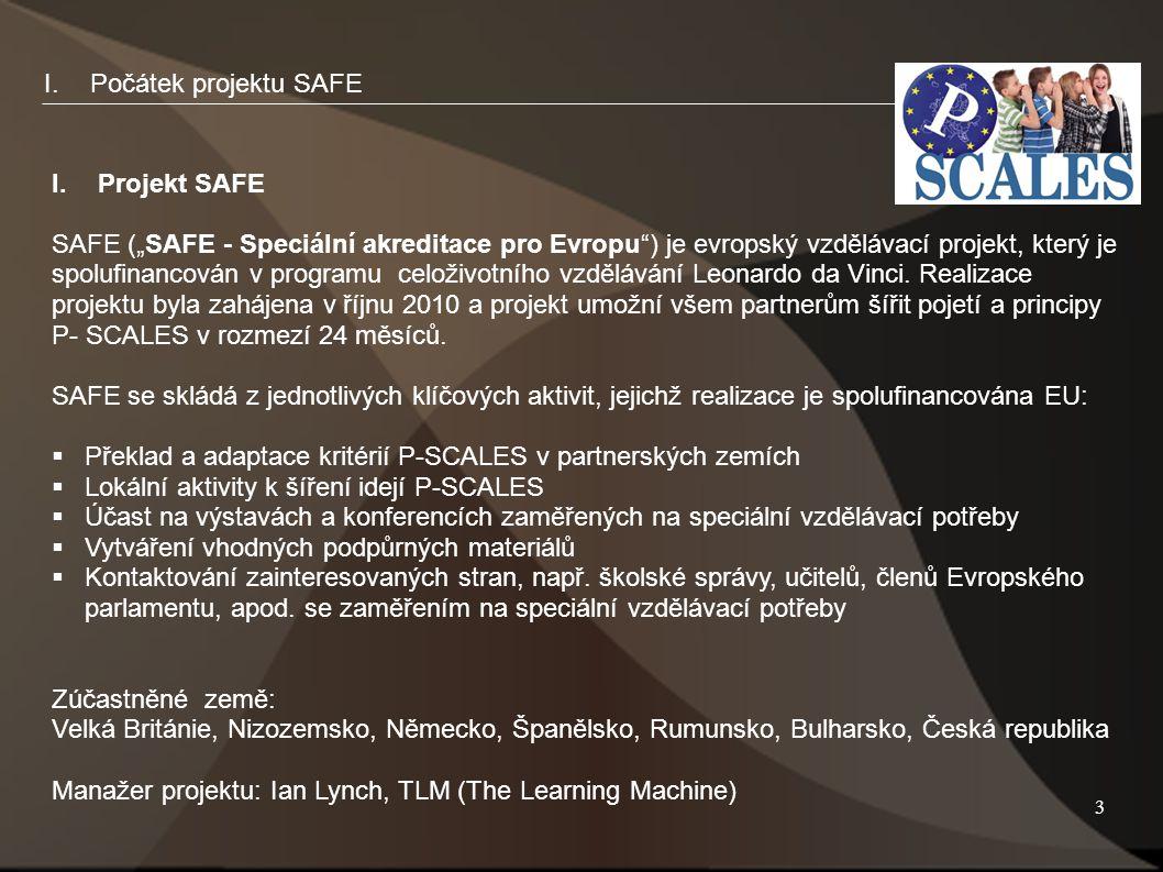 """3 I.Počátek projektu SAFE I.Projekt SAFE SAFE (""""SAFE - Speciální akreditace pro Evropu ) je evropský vzdělávací projekt, který je spolufinancován v programu celoživotního vzdělávání Leonardo da Vinci."""