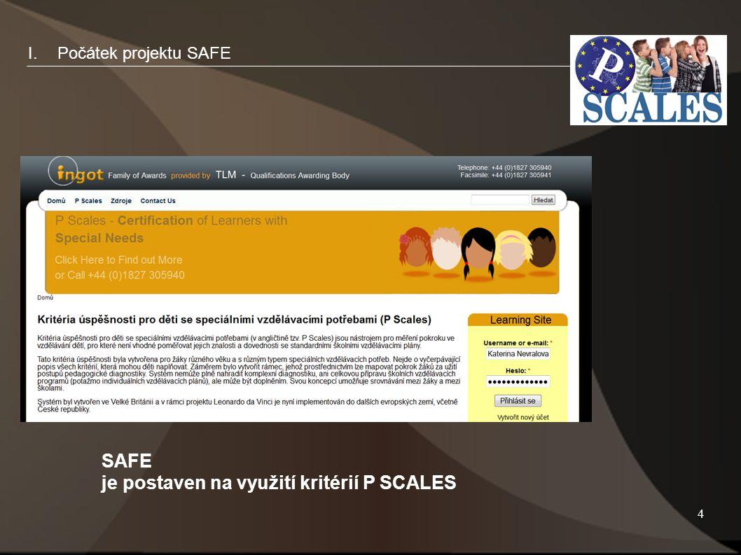 4 I.Počátek projektu SAFE SAFE je postaven na využití kritérií P SCALES