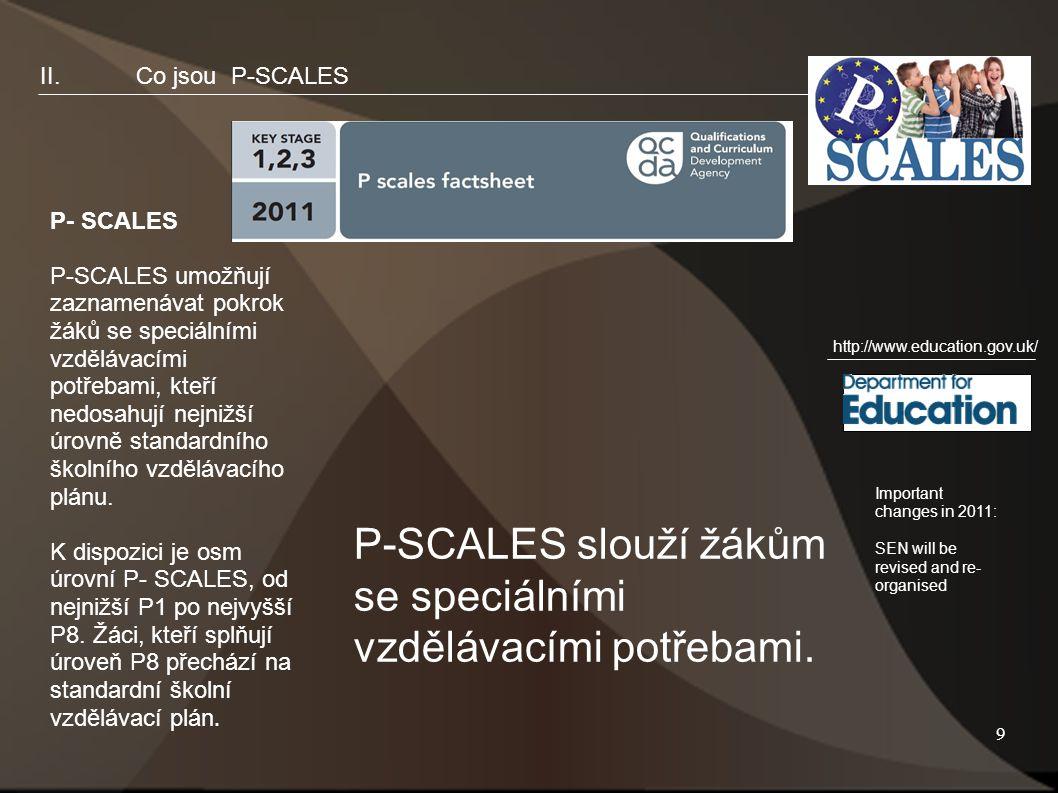 9 II.Co jsou P-SCALES P- SCALES P-SCALES umožňují zaznamenávat pokrok žáků se speciálními vzdělávacími potřebami, kteří nedosahují nejnižší úrovně standardního školního vzdělávacího plánu.