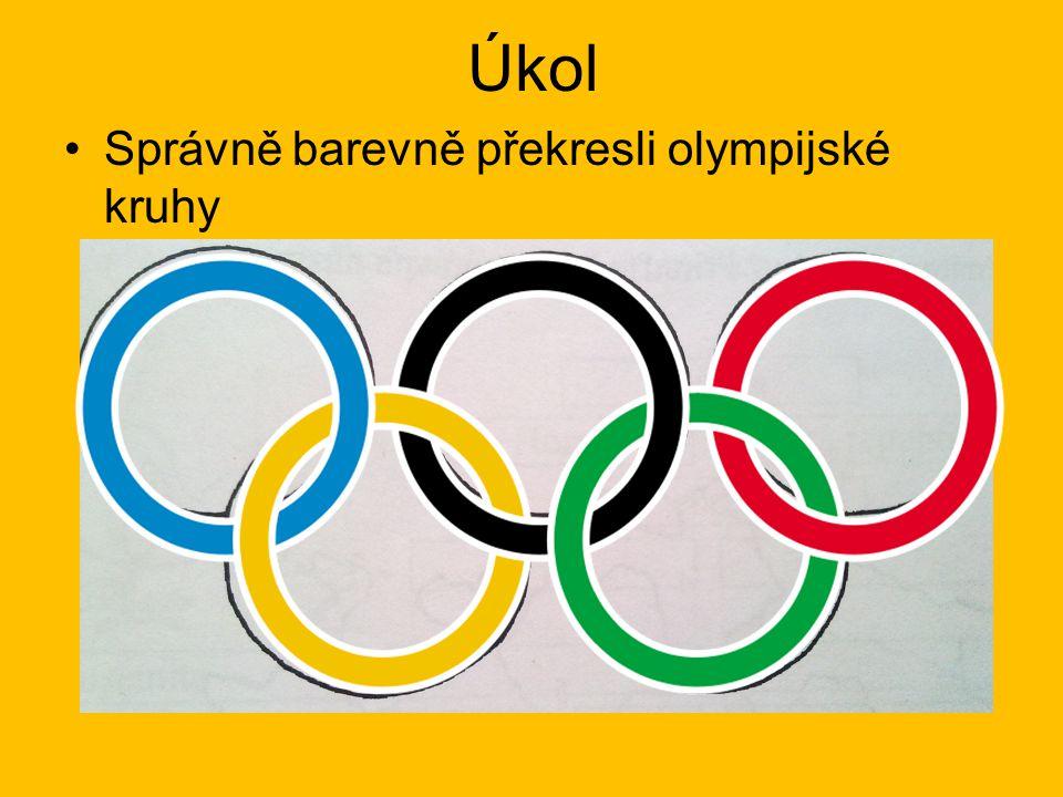 Úkol Správně barevně překresli olympijské kruhy