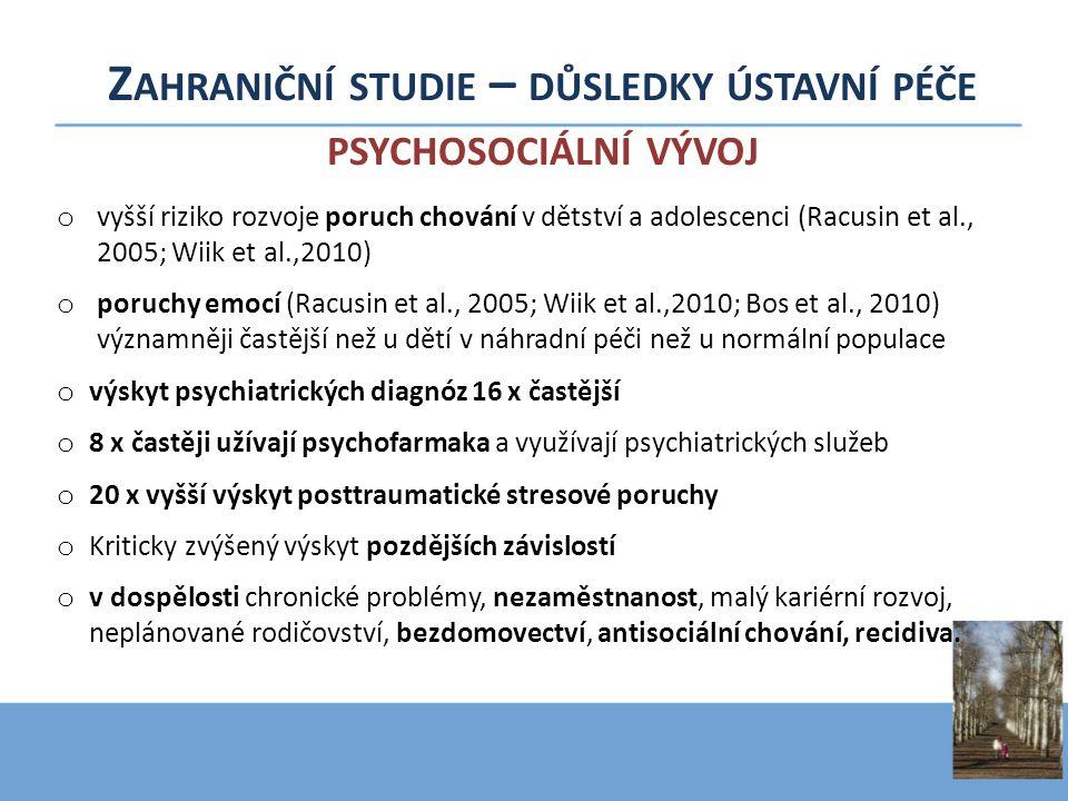 Z AHRANIČNÍ STUDIE – DŮSLEDKY ÚSTAVNÍ PÉČE PSYCHOSOCIÁLNÍ VÝVOJ o vyšší riziko rozvoje poruch chování v dětství a adolescenci (Racusin et al., 2005; W