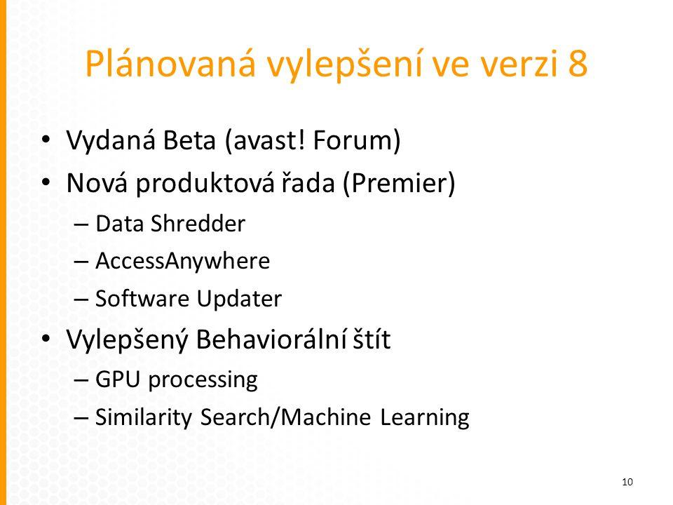 Plánovaná vylepšení ve verzi 8 Vydaná Beta (avast! Forum) Nová produktová řada (Premier) – Data Shredder – AccessAnywhere – Software Updater Vylepšený