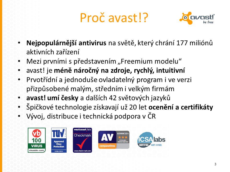 """Proč avast!? 3 Nejpopulárnější antivirus na světě, který chrání 177 miliónů aktivních zařízení Mezi prvními s představením """"Freemium modelu"""" avast! je"""