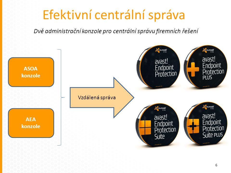 Efektivní centrální správa ASOA konzole AEA konzole Vzdálená správa Dvě administrační konzole pro centrální správu firemních řešení 6