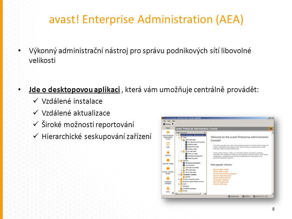 avast! Enterprise Administration (AEA) Výkonný administrační nástroj pro správu podnikových sítí libovolné velikosti Jde o desktopovou aplikaci, která